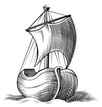 Boat Icon Engraving In Vector