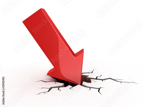 Fotografía  red arrow crash - bankruptcy failure crisis 3d concept