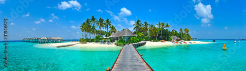 Foto-Schiebegardine Komplettsystem - Maldives island Panorama
