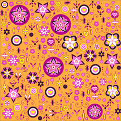 funky flowers and leaves retro pattern