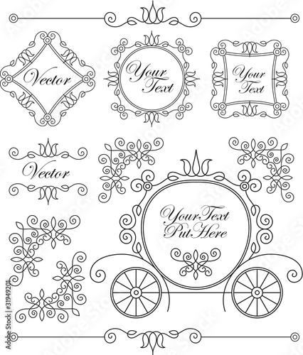 Photo set vector vintage ornaments