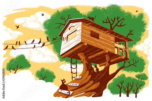 La pose en embrasure Forets enfants Treehouse