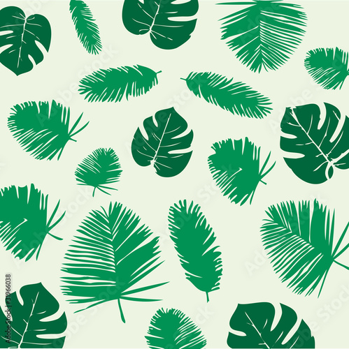 Foto  Tropical Leaves Seamless Pattern