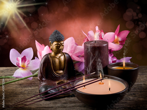 Tuinposter Boeddha buddah witn candle and incense