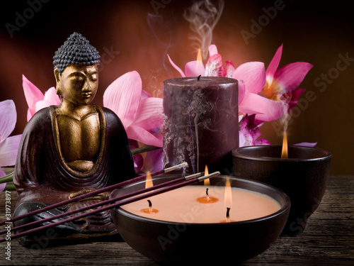Poster Boeddha buddah with candle and incense