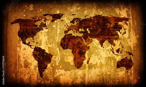 Foto op Aluminium Wereldkaart world map vintage artwork
