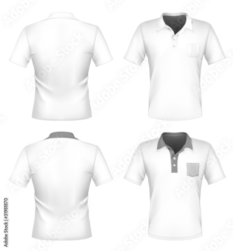 Mens Polo Shirt Design Template With Pocket Front And Back Buy