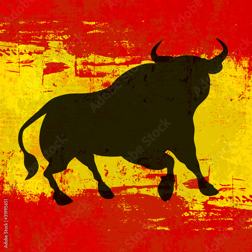 Photographie  Taureau sur fond de vecteur de drapeau espagnol