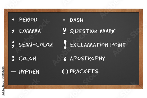 Fotografie, Obraz  chalkboard with punctuation marks