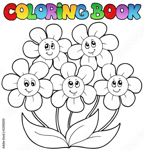 Spoed Foto op Canvas Doe het zelf Coloring book with five flowers