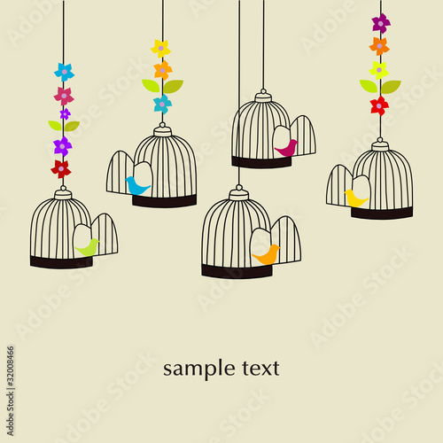 Poster Birds in cages PAPEL PINTADO