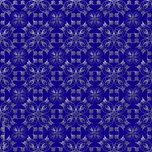 Fotografie, Obraz  Silver Design and Prussian Blue Damask Seamless Pattern