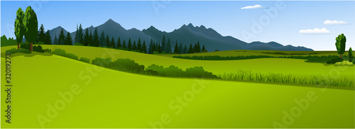 Keuken foto achterwand Lime groen Green landscape with mountains