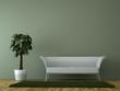 canvas print picture - Sofa Rendering mit Pflanze grün