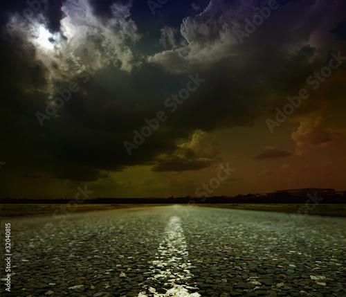 Poster Pleine lune asphalt