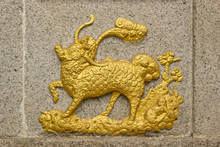 Chinese Unicorn(Qilin) On Temple Wall