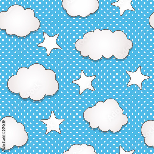 Poster Ciel Clouds seamless pattern