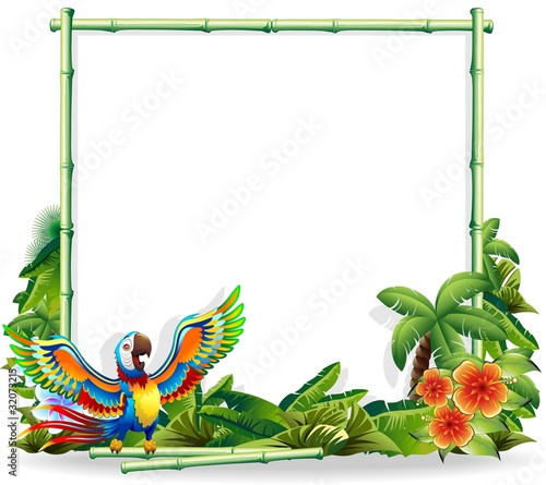 Photo Stands Draw Pappagallo Ara sfondo Bambù-Macaw Parrot Bamboo Background