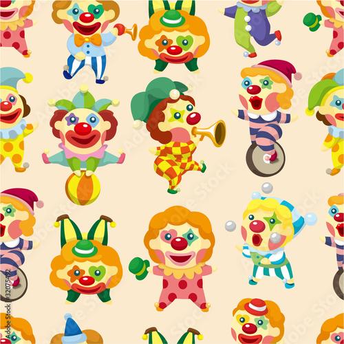 Deurstickers seamless cartoon circus clown pattern