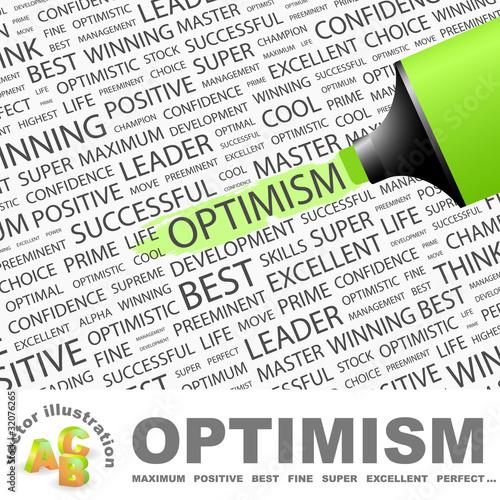 Fotografia  OPTIMISM. Highlighter over different association terms.