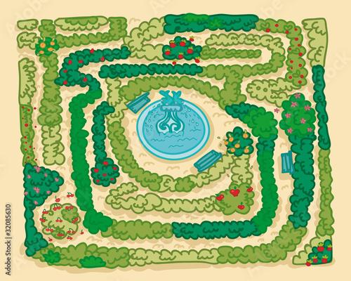 Poster de jardin Route parco labirinto