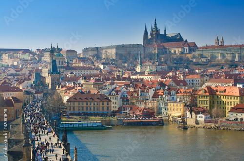Photo Prague, Charles bridge and Prague Castle, Vltava panorama