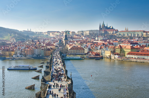 Staande foto Praag Vltava river, Charles bridge and Prague Castle view, Prague