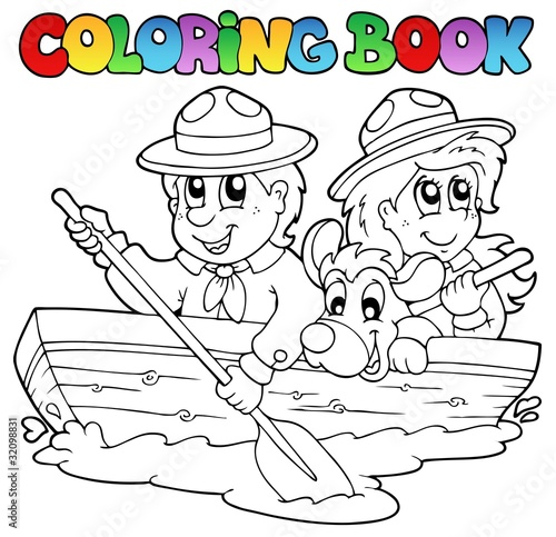 Türaufkleber Zum Malen Coloring book with scouts in boat