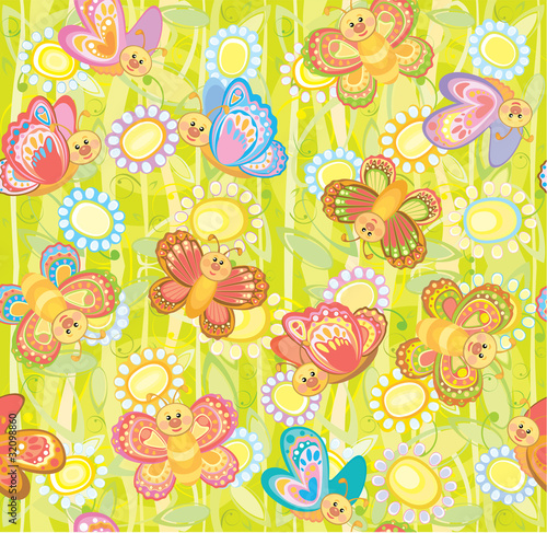 Seamless cute pattern of butterflies