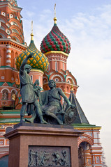 Fototapeta na wymiar St. Basil's Cathedral and the monument. Russia