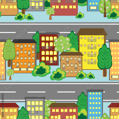 Poster de jardin Route Seamless background with cartoon town pattern