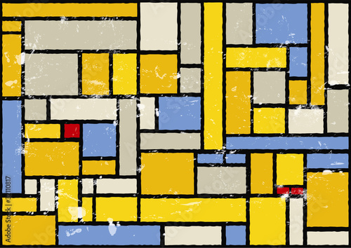 Photo  mondrian inspired color background, vector eps 10