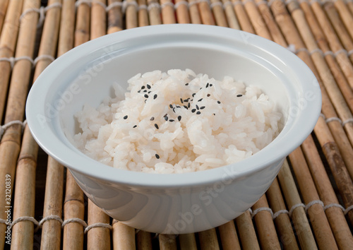 Bowl of cooked rice Canvas Print