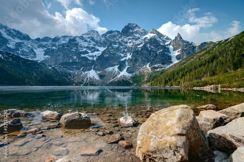 Ingelijste posters Blauwe jeans Polish Tatra mountains Morskie Oko lake