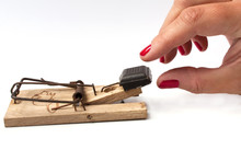Woman Trap: Trying To Take Chocloate From A Mousetrap