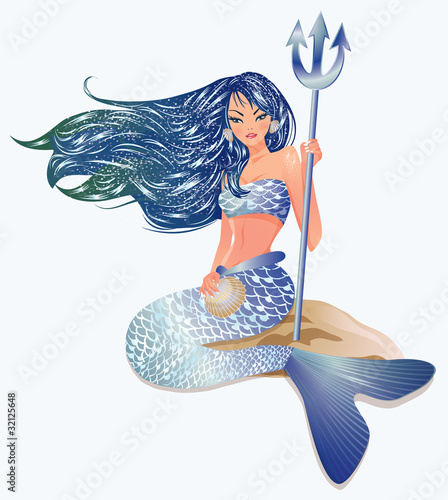 In de dag Zeemeermin Mermaid with Trident, vector illustration