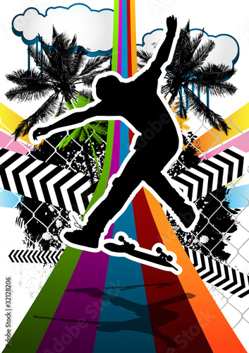 lato-streszczenie-tlo-z-sylwetka-skater
