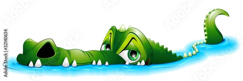 Poster Draw Coccodrillo Cartoon in Acqua-Crocodile in Water-Vector