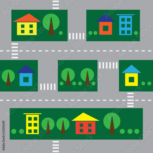 Poster de jardin Route seamless cityscape