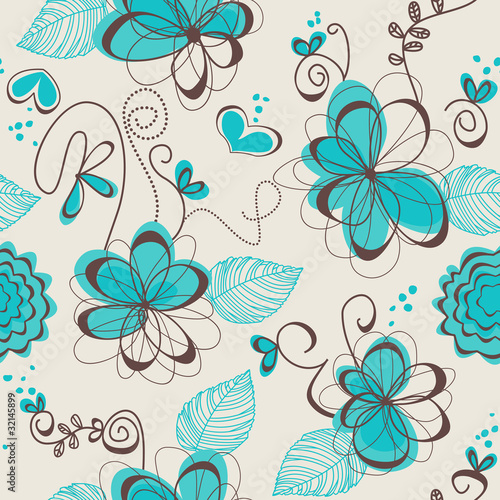 Deurstickers Abstract bloemen Retro floral seamless pattern
