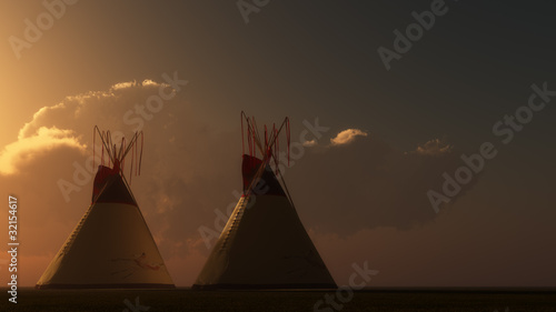 Poster Indiens Two Teepees