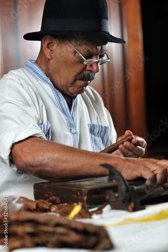 man making luxury handmade cuban cigare Wallpaper Mural