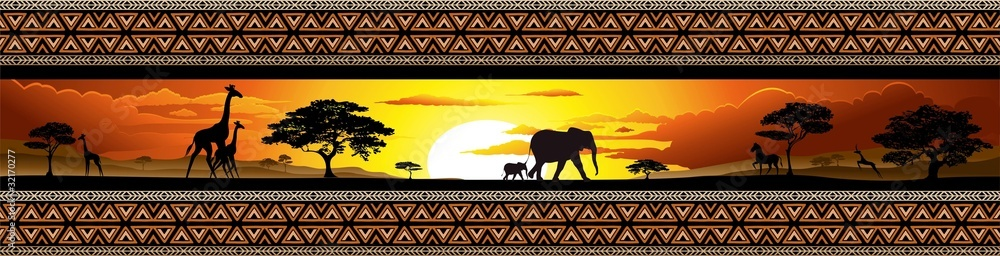 Fototapeta Savana Tramonto e animali-Savannah Sunset and Animals-Banner