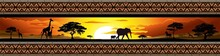 Savana Tramonto E Animali-Savannah Sunset And Animals-Banner