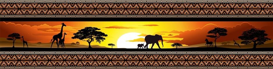 Fototapeta Savana Tramonto e animali-Savannah Sunset and Animals-Banner