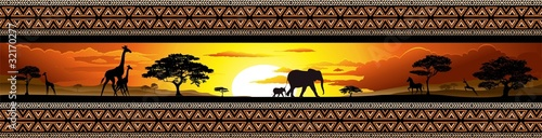 Photo sur Toile Draw Savana Tramonto e animali-Savannah Sunset and Animals-Banner