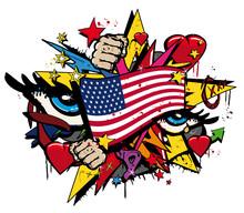 Graffiti USA Flag Pop Art Illu...