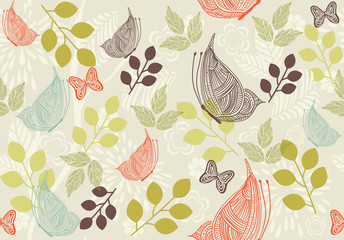 Fototapeta retro floral background with butterfly