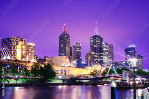 Foto op Canvas Australië Night Urban City Skyline. Melbourne. Australia