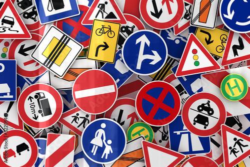 Fotografía  European traffic signs mixed together